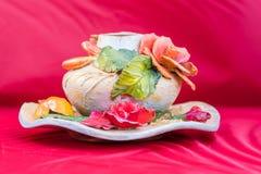 Bello vaso floreale dell'argilla Fotografia Stock Libera da Diritti