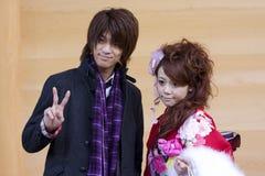 Bello vestito giapponese dell'uomo del kimono della ragazza Fotografie Stock