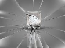 Bello vetro realistico del whiskey con il vettore dei cubetti di ghiaccio, scena di vetro rotta Immagini Stock