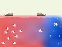 Bello vettore dell'oceano blu e del concetto rosso di strategia aziendale dell'oceano Fotografie Stock Libere da Diritti