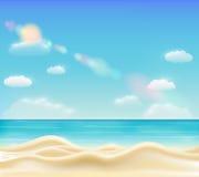 Bello vettore luminoso reale della spiaggia della sabbia di mare illustrazione vettoriale