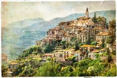 Bello villaggio autentico Apricale, Liguria, Italia Immagini Stock