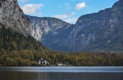 Bello villaggio di Hallstatt dell'Austria fotografie stock libere da diritti