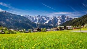 Bello villaggio Gosau in alpi austriache, Europa Fotografia Stock Libera da Diritti