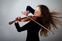 Bello violinista Fotografia Stock Libera da Diritti
