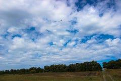 Bello volo variopinto dell'aquilone in un cielo nuvoloso blu immagine stock