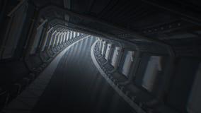 Bello volo veloce tramite il tunnel astratto senza fine Muovendosi in tunnel futuristico dell'astronave ha avvolto l'animazione 3 royalty illustrazione gratis