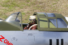 Bellota jet 2013 japonese pilot in model plane. Royalty Free Stock Photos
