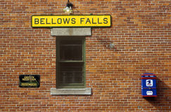 Bellows Falls train station along Green Mountain Railroad in Bellows Falls, VT Stock Photography