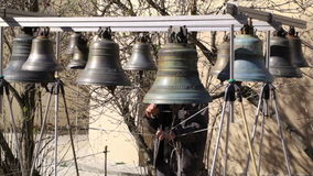 Bellringer rings the bells. Yaroslavl, Russia. stock video footage