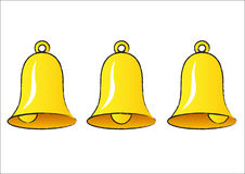 Bells. Three bells isolated on the white Stock Photos