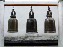 Bells. Three bells in an Asian Temple stock photo