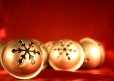 Bells argentées sur le rouge Photographie stock libre de droits
