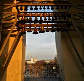 Bells on the bell tower of St. Sophia Cathedral in Kiev and a view from above on the Mikhailovsky Golden-domed Monastery royalty free stock images