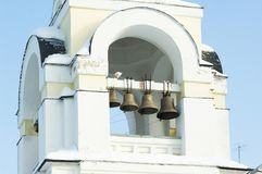 Bells on belltower. Of The Church of the Nativity in Obninsk, Kaluga region, Russia stock photo