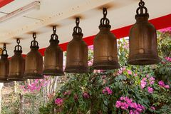 Bells at Big Buddha Hill temple, Pattaya. Royalty Free Stock Image