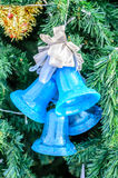 Bells blue with Christmas decoration Stock Images