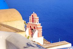 Bells and blue sea, Greece royalty free stock photography