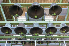 Bells of carillon in tower of Dutch village Emmeloord Stock Photography