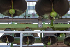 Bells of carillon in tower of Dutch village Emmeloord Royalty Free Stock Images