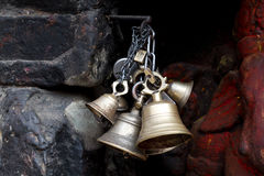 Bells Ceremony. Buddhist temple, Nepal royalty free stock photography