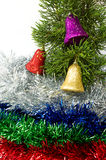 Bells on Christmas tree. Decorated of Christmas season. Stock Images