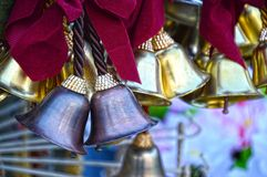 Different Bells. Bells of different metals and colors. These can be used in places of worship and home royalty free stock images