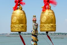Bells and dragon statue in buddhist temple of Thailand Royalty Free Stock Photos