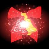 Bells et ruban avec le fond de Noël et le vecteur de carte de voeux Photos libres de droits