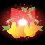 Bells et ruban avec le fond de Noël et le vecteur de carte de voeux Photo stock