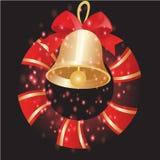 Bells et ruban avec le fond de Noël et le vecteur de carte de voeux Photographie stock