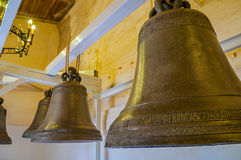 Bells at the exhibition inside the belfry of St Sophia Cathedral in Veliky Novgorod, Russia Stock Photos