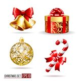 Bells, gift box, candycane and christmas ball. Christmas set with two handbells, gift box, candy cane and christmas ball. Realistic vector elements for design Royalty Free Stock Image