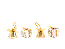 Bells and gift boxes. On white background stock photography
