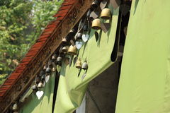 Bells hang on roof at thai temple Royalty Free Stock Photo