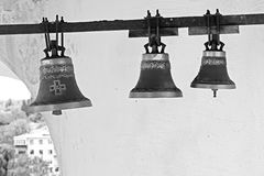 Bells inside bell tower of Trinity Monastery in Chernigiv Stock Photo