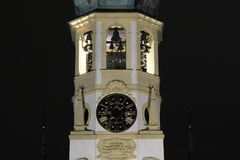 Bells of Loreta. Tower with clocks and 27 bells of Loreta in Prague Czech Republic at night Stock Images