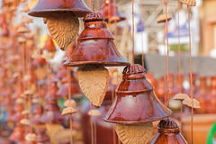 Bells made of clay, handicraft items on display , Kolkata Stock Photo