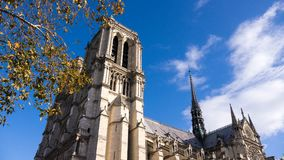 This is the Bells of Notre Dame. Low angle view of the famous Cathedral of Notre Dame in Paris, France Stock Images