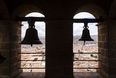 Bells over Cusco. Cusco view from a bellfry, Peru Stock Photo