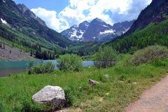 Bells Path. Maroon Bells in Aspen, Colorado royalty free stock photo