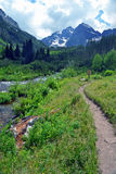 Bells Path. Maroon Bells in Aspen, Colorado stock photography