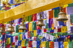 Bells and prayer flags Stock Photography