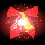 Bells and ribbon with Christmas background and greeting card vector Royalty Free Stock Photos