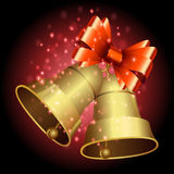 Bells and ribbon with Christmas background and greeting card vector Stock Photo