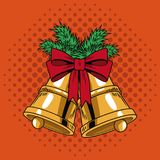 Bells with ribbon Christmas pop art. Vector illustration graphic vector illustration