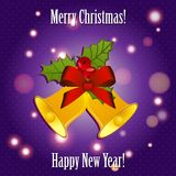 Bells with ribbon and mistletoe. New Year greeting card. Congratulations On Christmas. Royalty Free Stock Photography