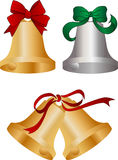 Bells with ribbons. Several bells ideal for promotions, greeting cards, or weddings Royalty Free Stock Photography