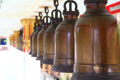 Bells row in Thailand temple Royalty Free Stock Image
