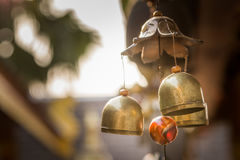 Bells. Small bells hang on rope in the temple Stock Images